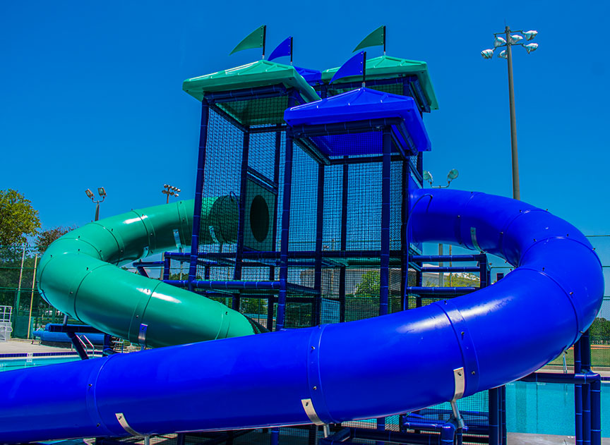 E.H. McLin Pool slides